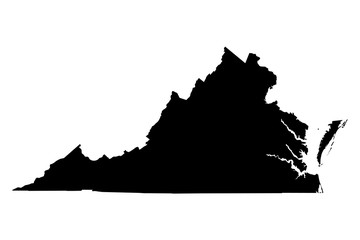 Virginia black map on white background vector