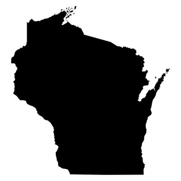 Wisconsin black map on white background vector