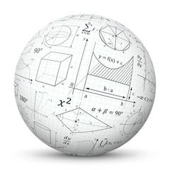 Weiße 3D Kugel mit mathematischen Formeln - Vektor Ball mit Mathe Textur. Formelsammlung auf karriertem Papier gemappt auf Oberfläche. Geometrie, Integral, Fläche. Geometrische Zeichen und Symbole.
