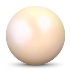 Schöne, cremefarbene 3D Vektor Perle isoliert auf weißem Hintergrund. Designelement für Beauty, Wellness und Spa Design. Zuchtperle, Muschelperle, Austernperle.