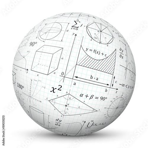 weiße 3d kugel mit mathematischen formeln - vektor ball mit mathe