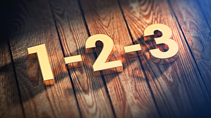 Digits 1-2-3 on wood planks Wall mural