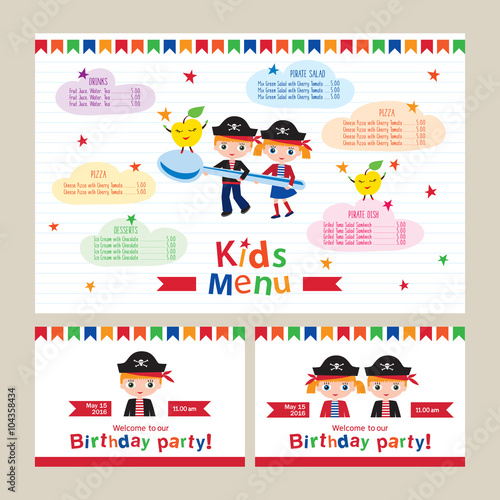 Kids Menu Vector Template For A Pirate Birthday Party Invitation To Children S Cafes Restaurants