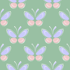 Seamless vector pastel pattern with insects, symmetrical background with blue and pink butterflies on the green backdrop. Decorative ornament. Series of Insects Seamless Patterns.