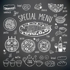 Big set of elements for restaurant, pizzeria, bakery, cafe menu. Hand drawing food chalk elements on the black chalkboard. Sketch, food elements for your design. Vector illustration.