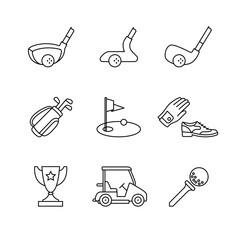 Golf sport and equipment thin line art icons set