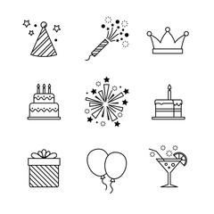 Birthday icons thin line art set. Celebration