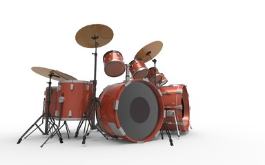 Drum set on White Isolated