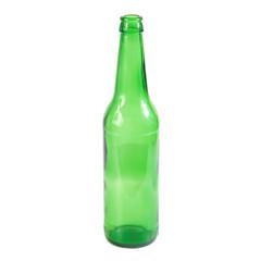 Open empty green beer bottle