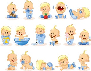 Vector illustration of baby boys