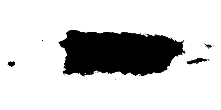 Puerto Rico black map on white background vector
