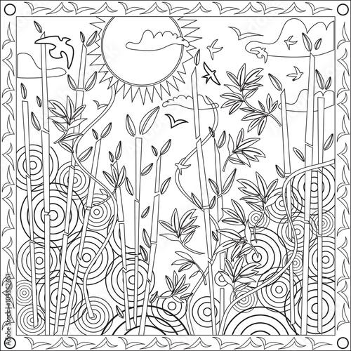 Page Coloriage Pour Adultes Livre Design Motif Bambou Japon