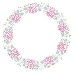 Frame with vintage roses pattern