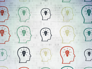 Business concept: Head With Lightbulb icons on Digital Paper background