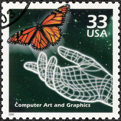 USA - 2000: shows Hand and butterfly, computer generated art