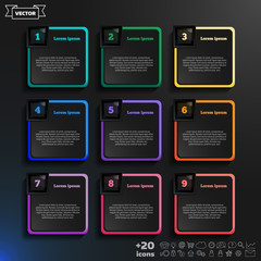 Vector infographic design with colorful squares on the black bac