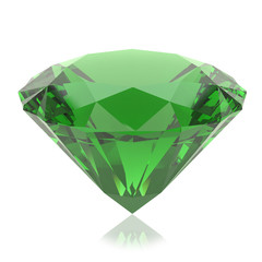 Green crystal on a white background. 3d render