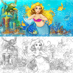 Cartoon marmaid in the sea - with coloring page - illustration for the children