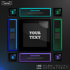 Vector infographic design with colorful squares on the black background