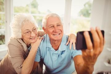Smiling senior couple taking selfie