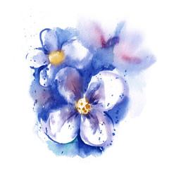 Watercolor Blue Flowers