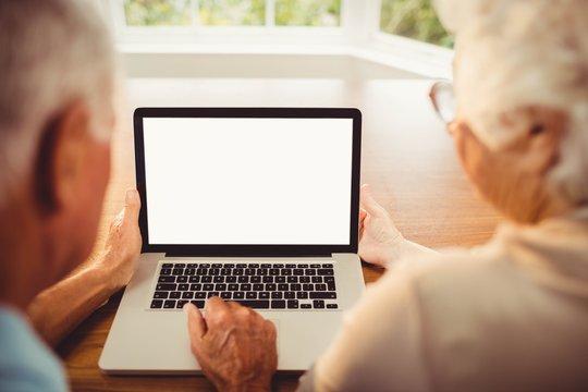 Rear view of senior couple using laptop