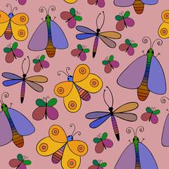 Cute cartoon insect set. Dragonflies, butterflies. Vector seamless pattern.