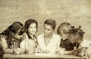 Vintage photo of primary classroom