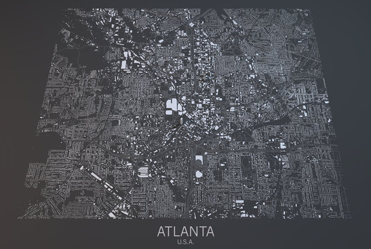 Cartina Atlanta, vista satellitare, Stati Uniti