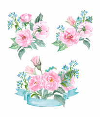 Watercolor wild rose. Hand drawn vector illustration.