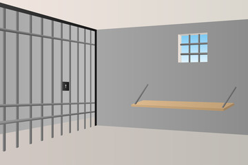Prison jail room interior window grille illustration vector