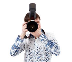Professional photographer taking photos on white background
