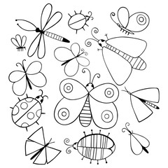Cute cartoon monochrome insect set. Dragonflies, butterflies and bugs. Vector illustration.