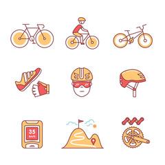 Bike cycling and biking accessories sign set
