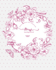 Vintage Floral Frame. A wreath of roses and butterflies. Perfect for wedding invitations and birthday cards. Template Vector.