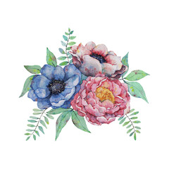 Watercolor hand drawn flowers vector illustration. Flowers for invitation, wedding or greeting cards.