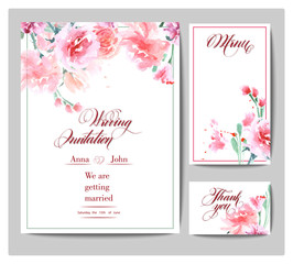Wedding invitation cards with watercolor blooming rose. (Use for Boarding Pass, invitations, thank you card.) Vector illustration.