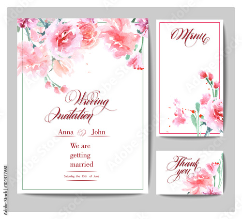 Wedding invitation cards with watercolor blooming rose use for wedding invitation cards with watercolor blooming rose use for boarding pass invitations stopboris Image collections