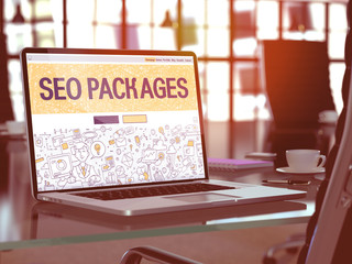 SEO - Search Engine Optimization - Packages Concept Closeup on Landing Page of Laptop Screen in Modern Office Workplace. Toned Image with Selective Focus. 3D Render.