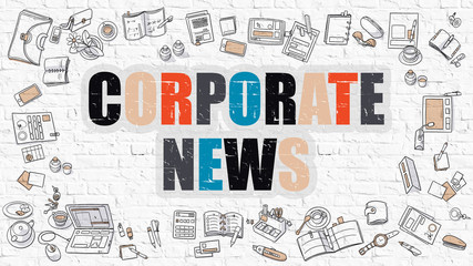 Corporate News - Multicolor Concept with Doodle Icons Around on White Brick Wall Background. Modern Illustration with Elements of Doodle Design Style.