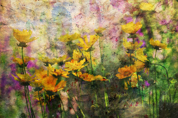 artwork with yellow summer flowers