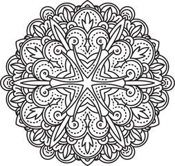 Abstract vector black round lace design - mandala, ethnic decora
