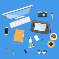 Workspace Top View Illustration