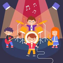 Kids Rock Band, Vector Illustration