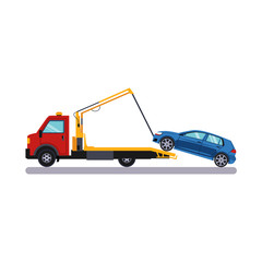Car and Transportation Towing. Vector Illustration