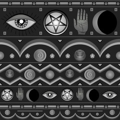 Seamless pattern with occult symbols.
