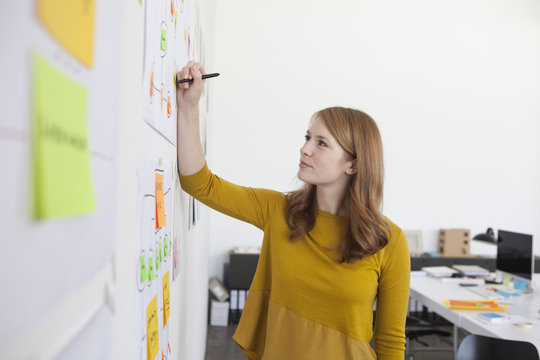 Young woman in office standing by org chart
