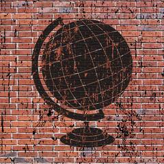 Street art, mappemonde grunge