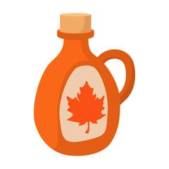 Bottle of maple syrup icon, cartoon style