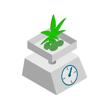 Medicinal marijuana on a scale icon